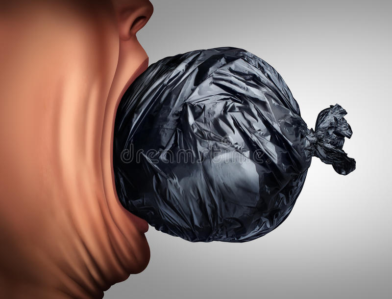 Eating Garbage. And unhealthy nutrition lifestyle as a person taking a bite out of a trash bag in a 3D illustration style as a health metaphor for disgusting royalty free illustration