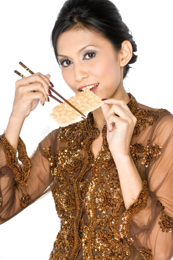 Eating healthy biscuit royalty free stock image