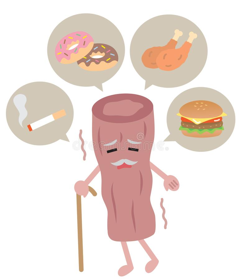 Unhealthy food composed saturated fat and tobbaco smoke is harmful to the health of artery. healthcare concept. cute cartoon chara royalty free illustration