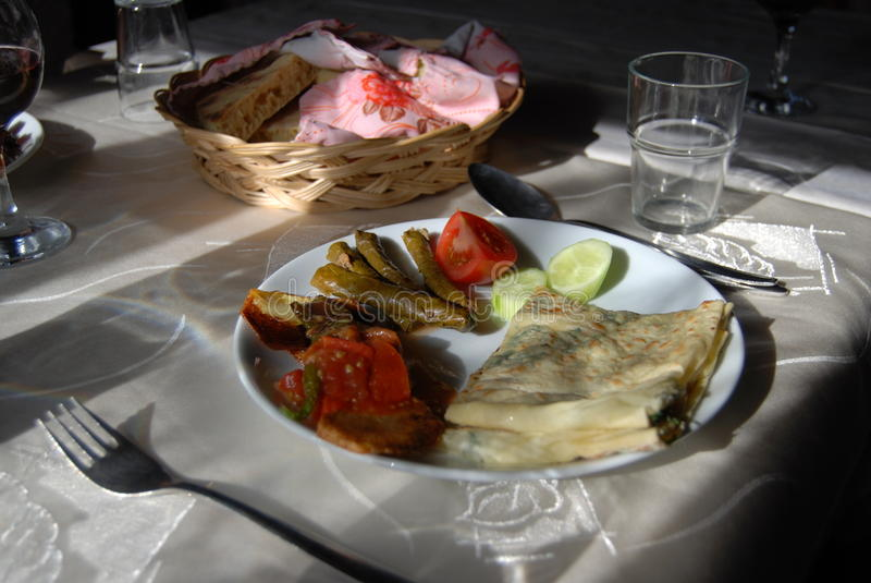 Eating near Izmir Turkey stock photo