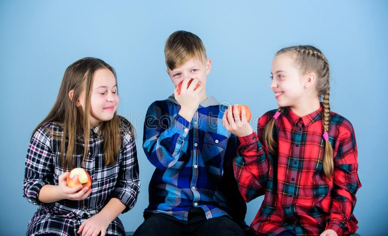 Eating organic for a fresher and healthier life. Small children enjoy eating natural organic fruits. Little children. Holding red organic apples. Providing royalty free stock photography