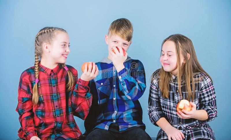 Eating organic for a fresher and healthier life. Small children enjoy eating natural organic fruits. Little children. Holding red organic apples. Providing royalty free stock image