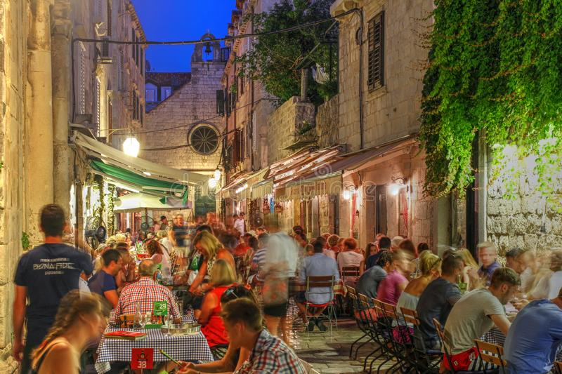Eating out in Dubrovnik, Croatia royalty free stock photo