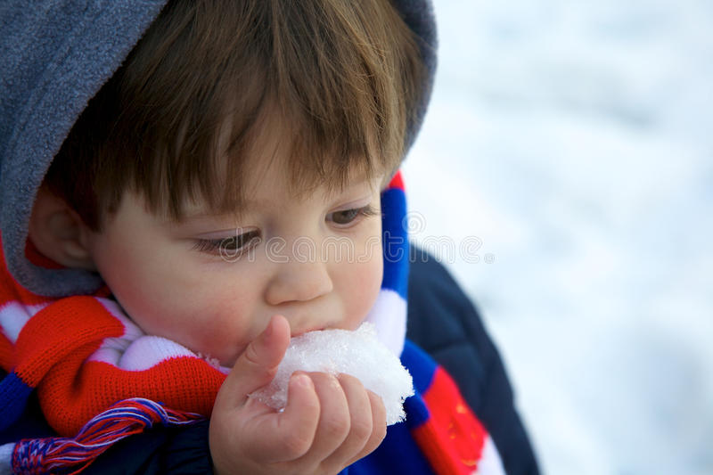 Eating snow royalty free stock photos