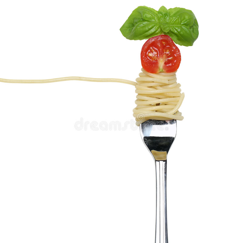 Eating spaghetti noodles pasta on a fork isolated stock image