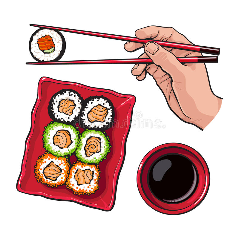 Eating sushi - human hand with chopsticks and soy sauce bowl vector illustration