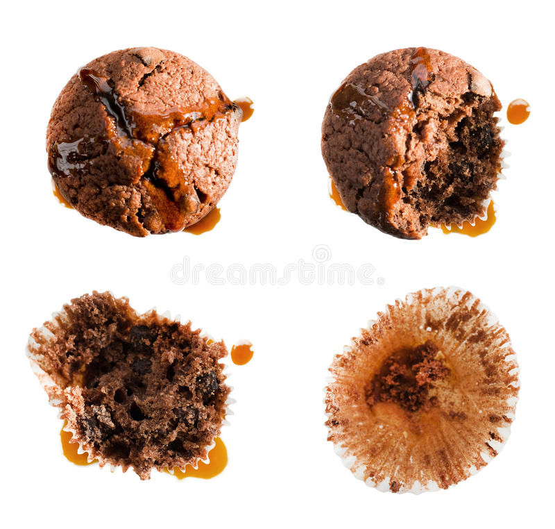 Eating syrup covered muffin in four steps. Eating syrup covered chocolate muffin in four steps, isolated on white royalty free stock photo