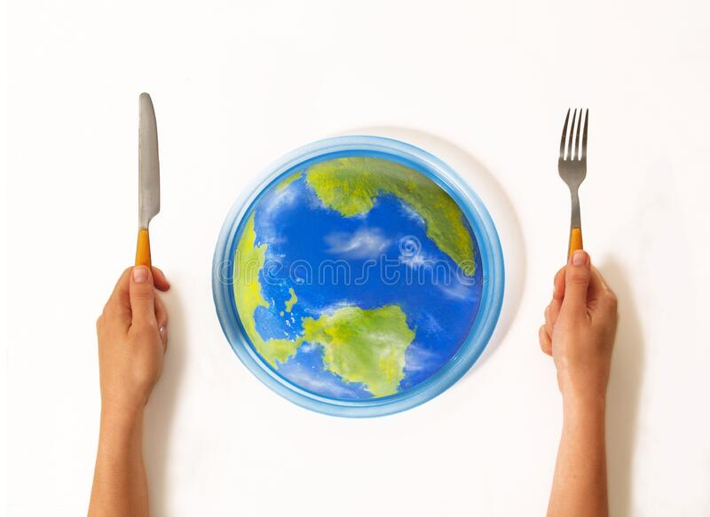 Eating the world on talent skill concept. stock images