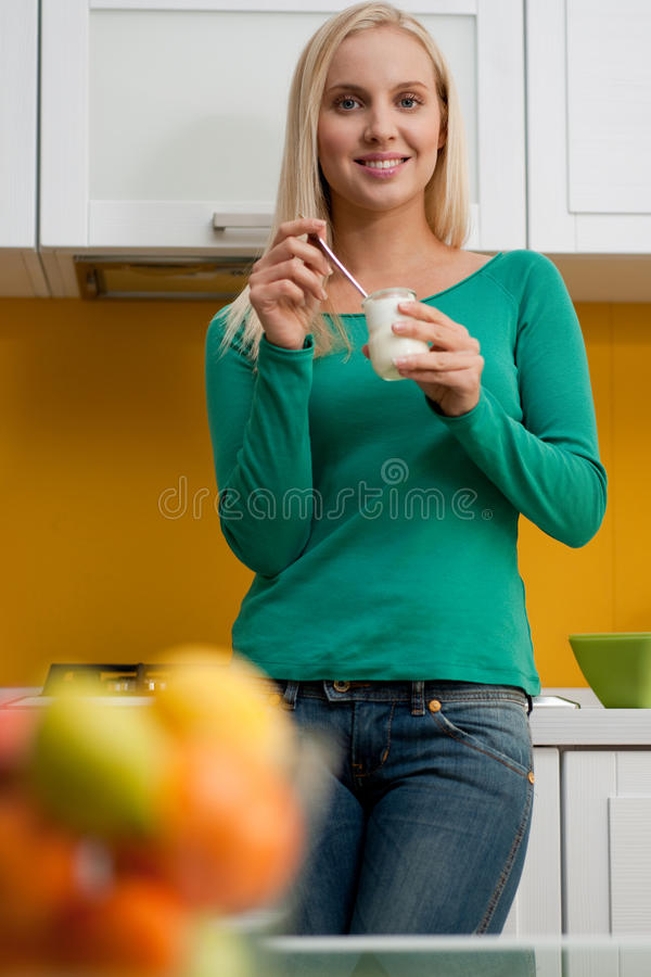Download Eating yogurt stock photo. Image of selective, image - 12225382