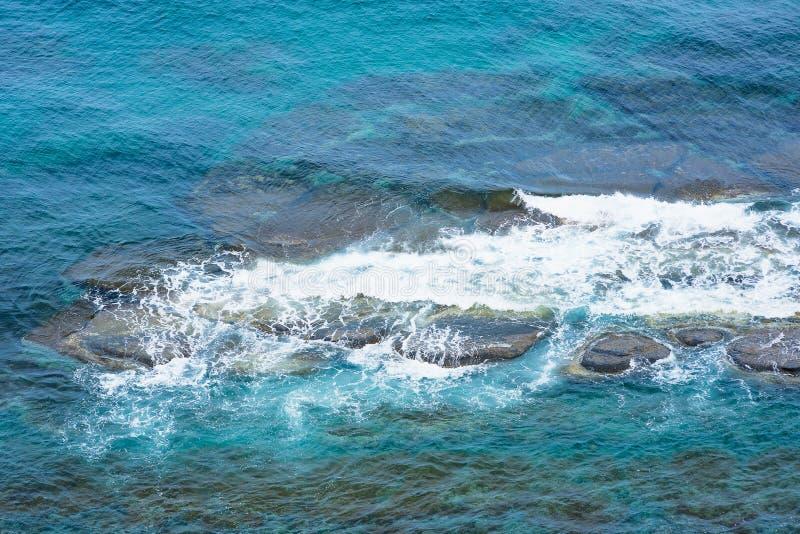 Eau de mer, mousse sur les roches image libre de droits