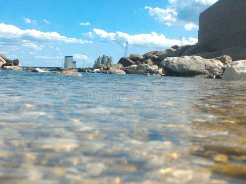 Eau de mer sur les roches et le ciel bleu images libres de droits