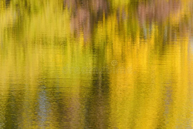 Eau de rivière avec la réflexion de l'image brouillée de forêt d'automne photos libres de droits