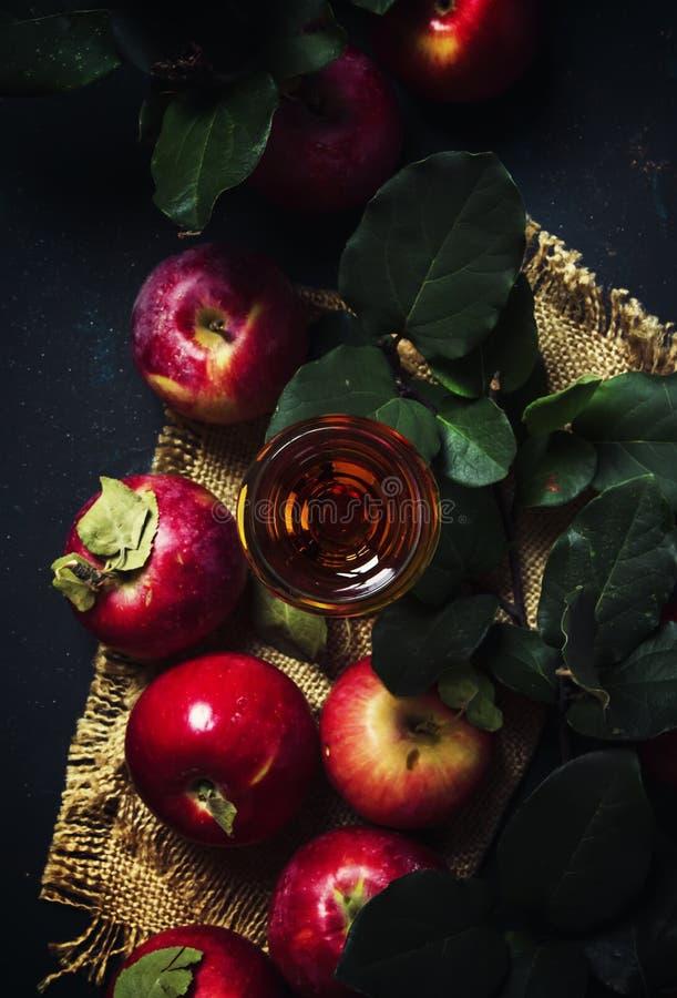 Eau-de-vie fine de pomme ou le Calvados française, fond foncé d'automne de boissons, t photographie stock
