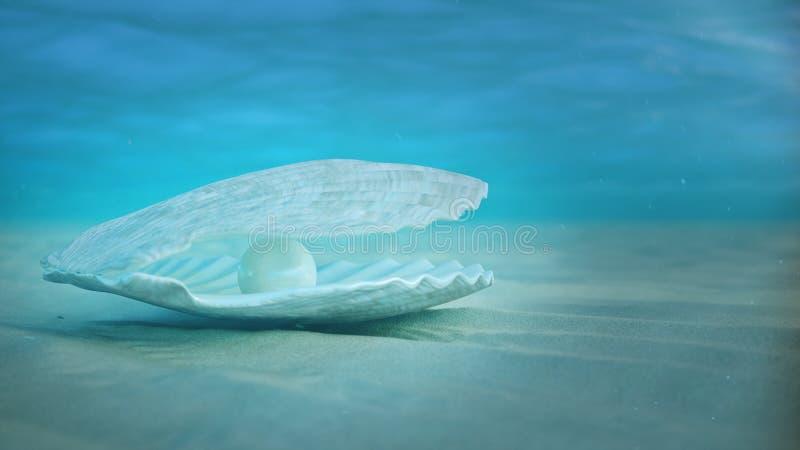 Eau du fond de nacre Coquille de mer sous-marine Belles perles, bijoux chers Hu?tres et perles sur illustration stock