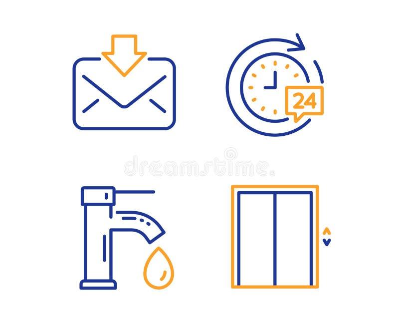 Eau du robinet, courrier entrant et ensemble d'ic?nes de la livraison 24h Soulevez le signe Robinet, message de t?l?chargement, c illustration libre de droits