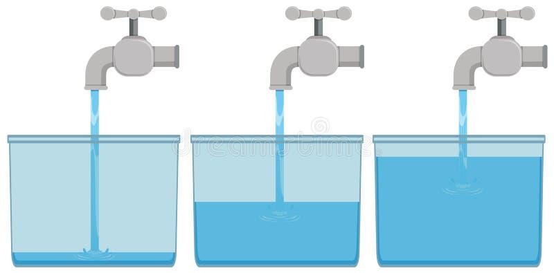 Eau du robinet dans des seaux illustration libre de droits