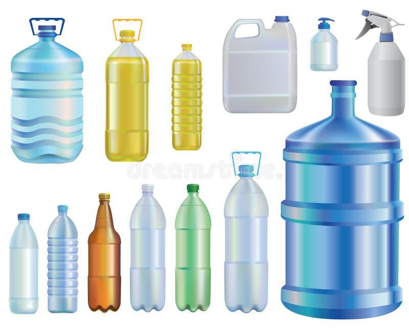 Eau Ensemble de différentes bouteilles pétrole Une capacité liquide savon Bière illustration de vecteur