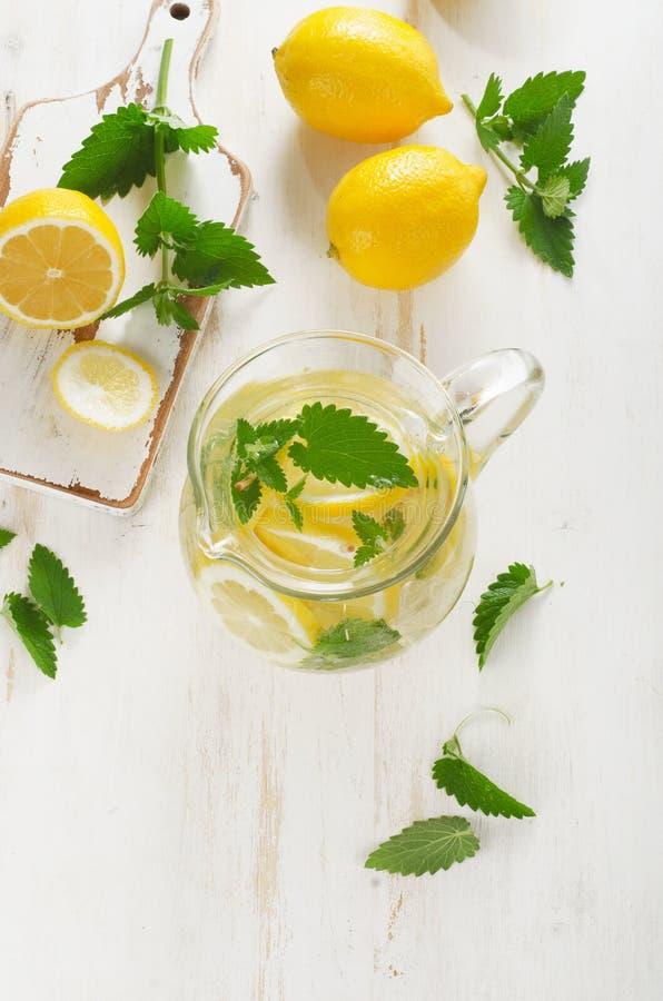 Eau froide avec le citron et la menthe frais dans une cruche en verre images stock