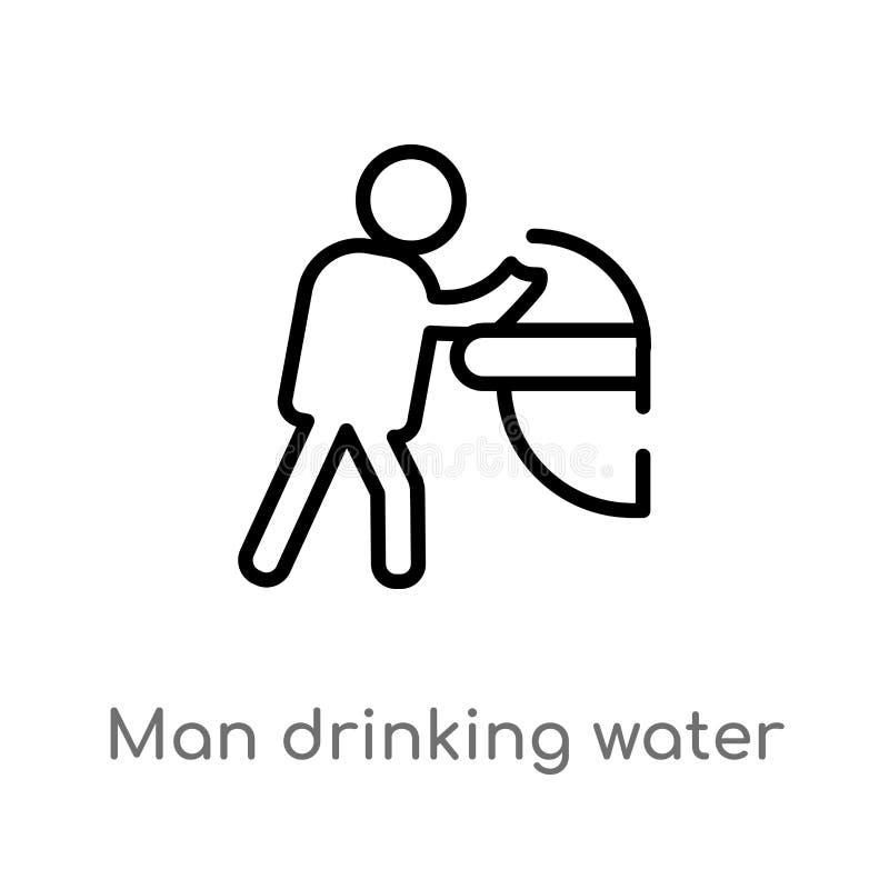 eau potable d'homme d'ensemble dans l'ic?ne de vecteur de lieu public ligne simple noire d'isolement illustration d'?l?ment de co illustration libre de droits