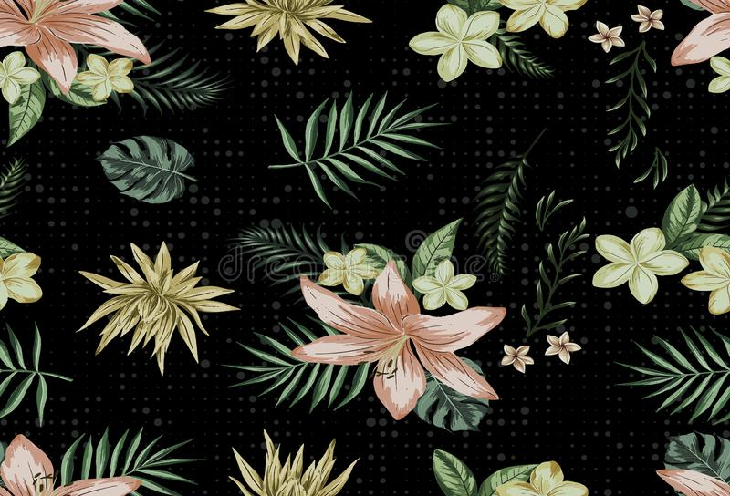 Eautiful background with floral leaf branhes plaid lines backgroundBeautiful seamless vector floral pattern, spring summer backgro stock illustration