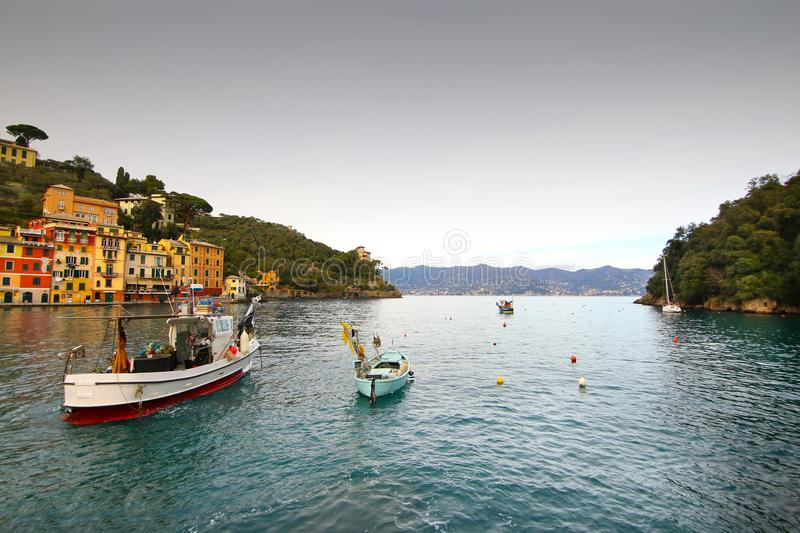 Eautiful bay with colorful houses in Portofino stock images