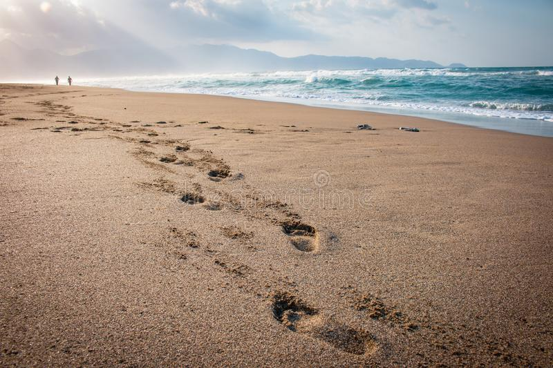 Eautiful beach with footprints in the sand. Couple of lovers walking on the beach at sunset and leaving foot prints on the beach. stock photos