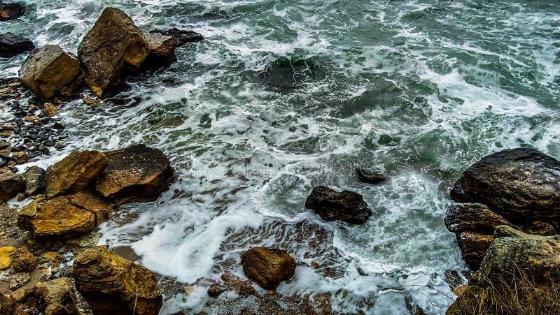 Eautiful krajobraz na czarnym morzu, seagulls fotografia stock