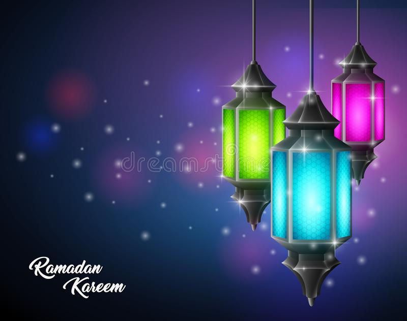 Eautiful Ramadan Kareem z arabskim lampowym obwieszeniem ilustracji