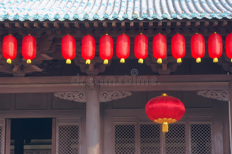 Download Eave and red lanterns stock photo. Image of window, pillars - 26762012