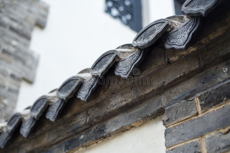 Eaves tiles in China. Eaves tiles ancient Chinese architecturen royalty free stock photo