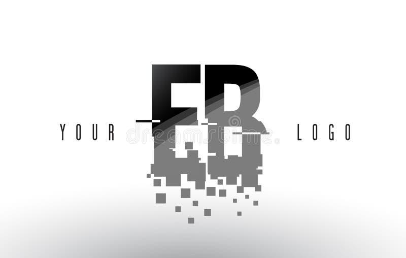 EB E B het Embleem van de Pixelbrief met Digitale Verbrijzelde Zwarte Vierkanten vector illustratie