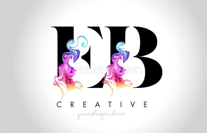 Eb Leter créatif vibrant Logo Design avec l'encre colorée la Floride de fumée illustration stock