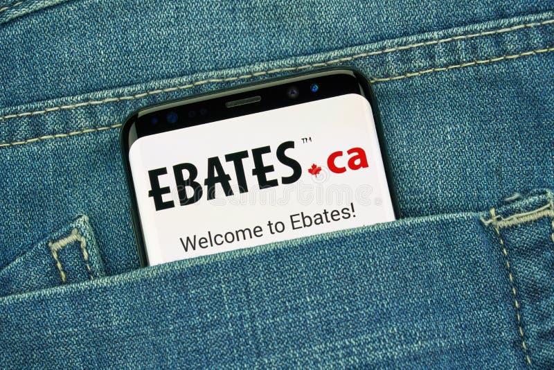 Ebates Kanada mobilny app na Samsung s8 fotografia stock