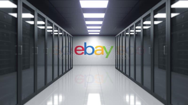 eBay Inc logo na ścianie serweru pokój Redakcyjny 3D rendering ilustracja wektor