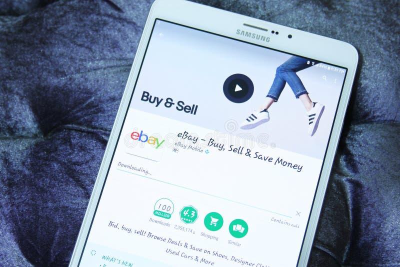 Ebay mobiele androïde app stock foto's