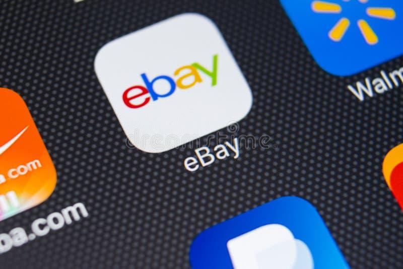 eBay toepassingspictogram op Apple-iPhone X het schermclose-up eBay app pictogram eBay Com is het grootst online veilt en het win royalty-vrije stock foto