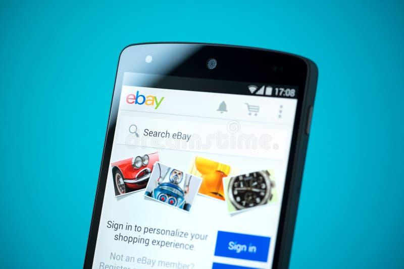 Ebay-website op Google-Samenhang 5 stock afbeeldingen