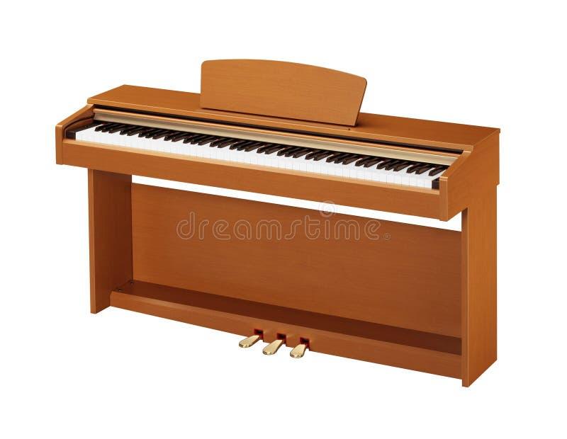 Ebbehout en ivoorsleutels van gele piano stock afbeelding