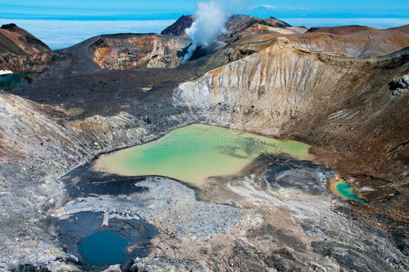 Ebeko Volcano, Paramushir Island, Russia stock photography