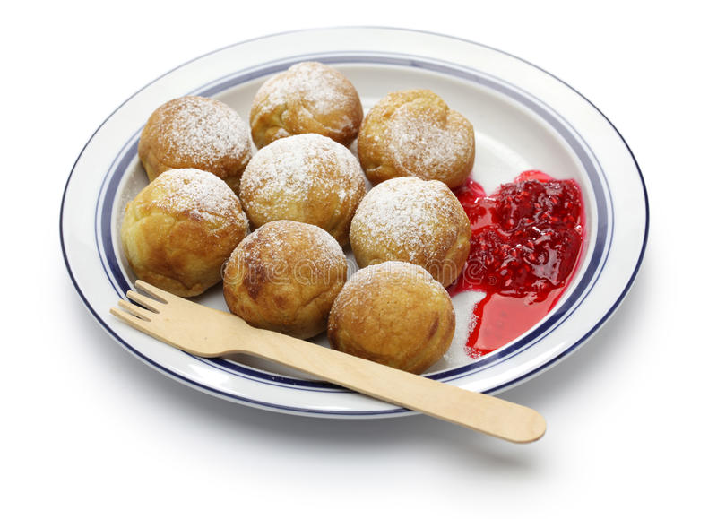 Ebelskiver, souffles danois de crêpe de Noël photographie stock