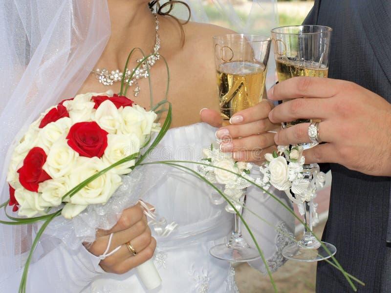 Eben geheiratet stockfoto