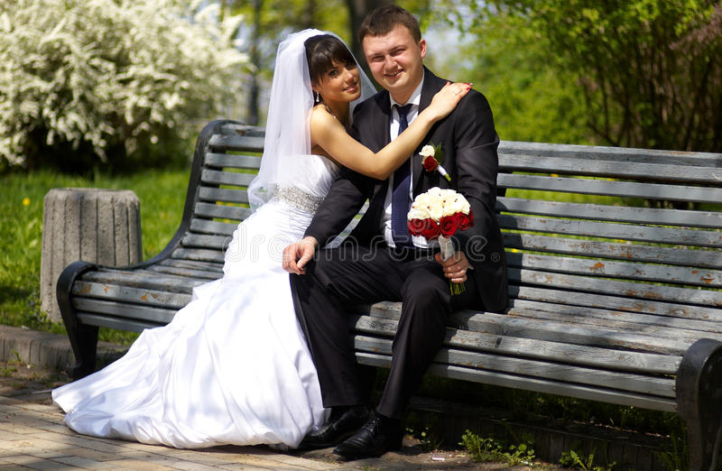 Eben verheiratete Paare stockbild