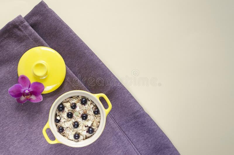 Ebene gelegtes gesundes Frühstückshafermehl in einem Topf, muesli mit frischen Blaubeeren und Korinthen lizenzfreie stockfotografie