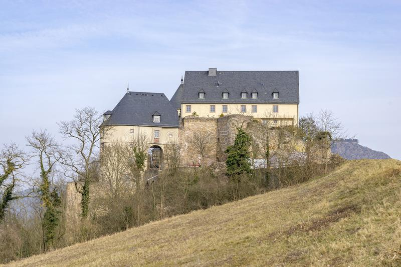 Ebernburg-Schloss schlechter Muenster morgens Stein Ebernburg, Deutschland lizenzfreies stockbild