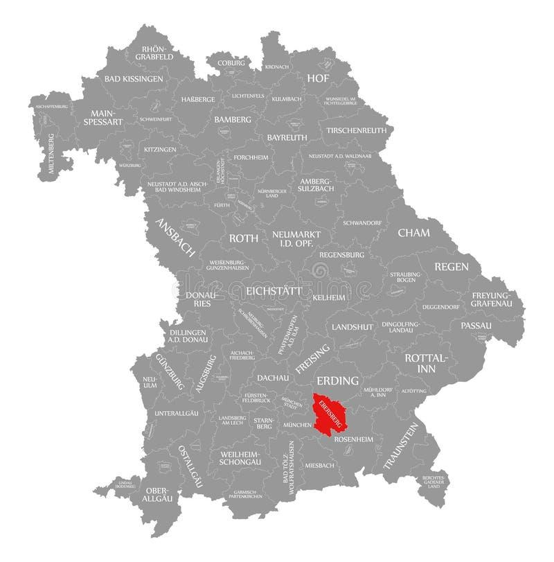 Ebersberg okręgu administracyjnego czerwień podkreślająca w mapie Bavaria Niemcy royalty ilustracja