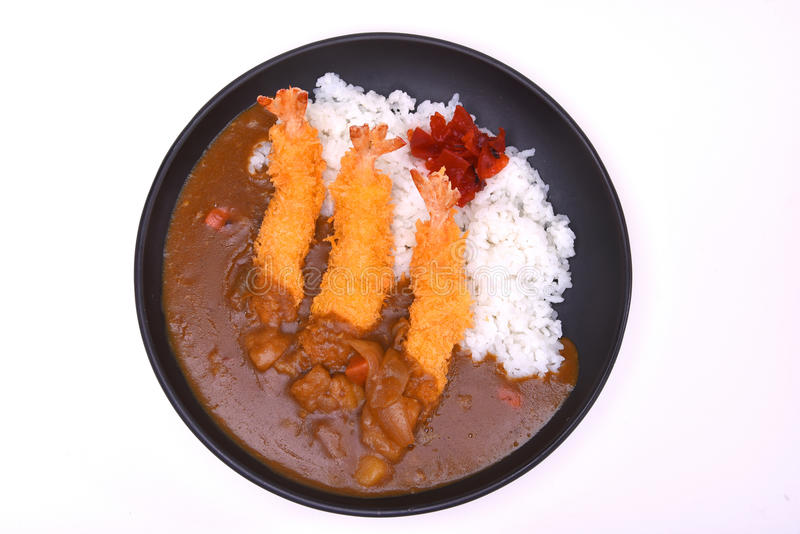 Ebi Fried Curry Rice , Deep Fried Prawn with Japanese Curry style on rice isolated on white background with clipping path stock photo