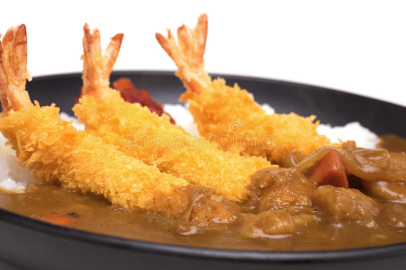 Ebi Fried Curry Rice , Deep Fried Prawn with Japanese Curry style on rice , selective focus point stock image