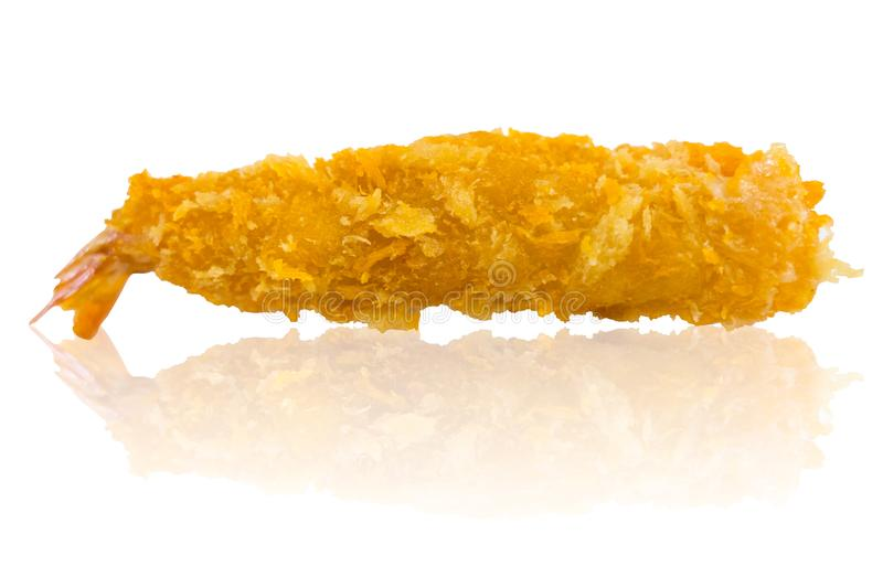 Ebi Fry or Deep Fried Breaded Prawn Shrimp isolated. On white royalty free stock photo
