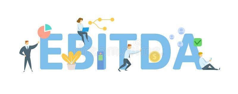 EBITDA, заработки перед интересом, налоги, обесценивание и амортизация Концепция с людьми, письмами и значками r иллюстрация штока