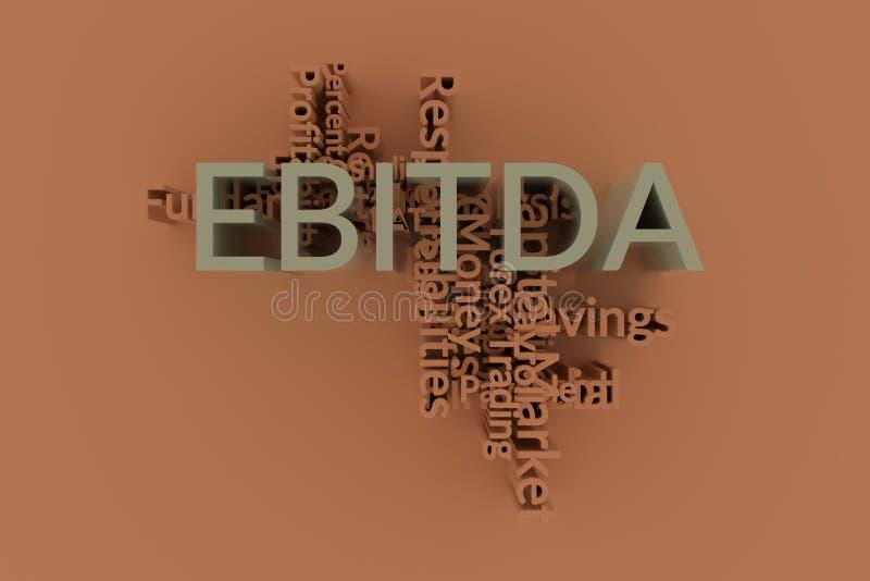 EBITDA, mots de mot-clé de finances opacifient Pour la page Web, la conception graphique, la texture ou le fond rendu 3d illustration stock